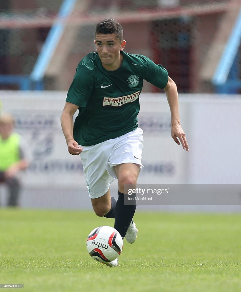 Alex Harris of Hibernian controls the ball during the Pre Season Friendly match between Stirling Albion and Hibernian at Forthbank Stadium on July 20, 2014 in Stirling, Scotland.