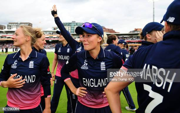 Alex Hartley of England appears emotional during the ICC Women's World Cup 2017 Final between England and India at Lord's Cricket Ground on July 23...