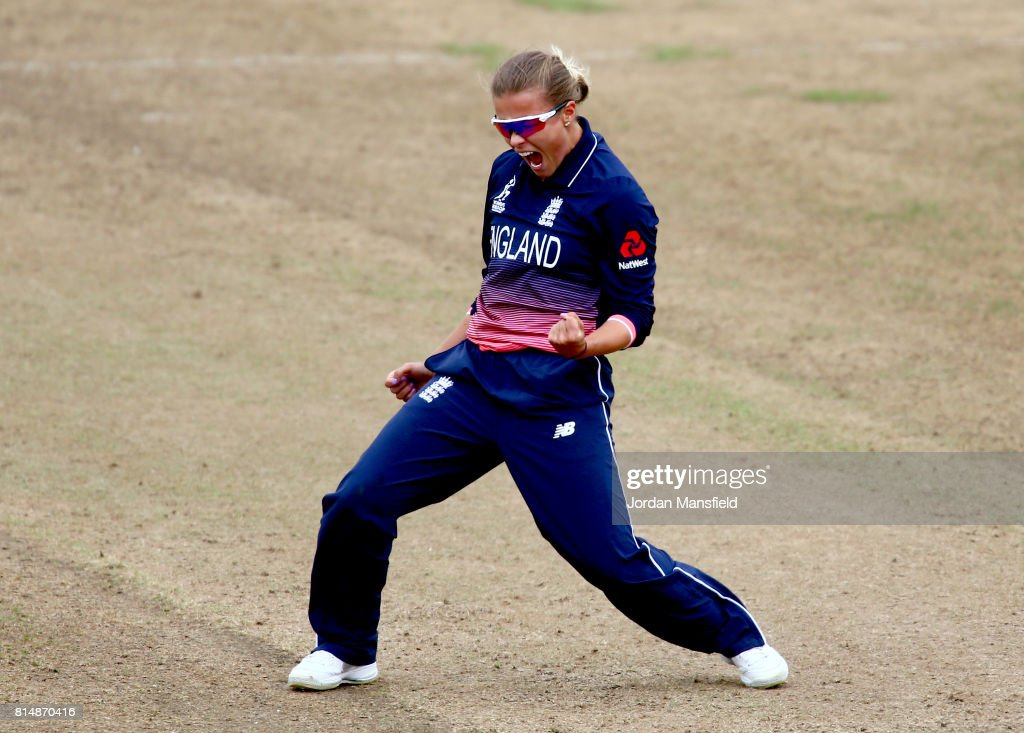 Alex Hartley of England celebrates dismissing Hayley Matthews of West Indies during the ICC Women's World Cup 2017 match between England and West Indies at The County Ground on July 15, 2017 in Bristol, England.