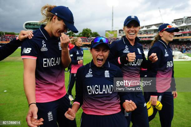 Alex Hartley of England celebrates during the ICC Women's World Cup 2017 Final between England and India at Lord's Cricket Ground on July 23 2017 in...