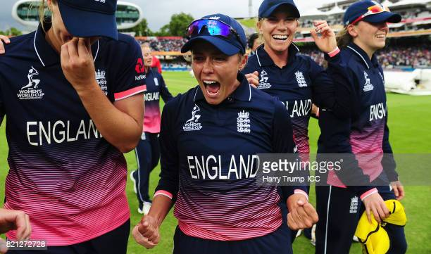Alex Hartley of England celebrates victory during the ICC Women's World Cup 2017 Final between England and India at Lord's Cricket Ground on July 23...