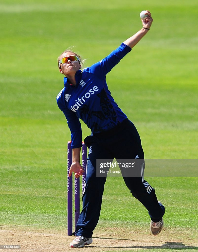 Alex Hartley of England during the 3rd Royal Royal London ODI between England Women and Pakistan Women at The Cooper Associates County Ground on June 27, 2016 in Somerset, United Kingdom.