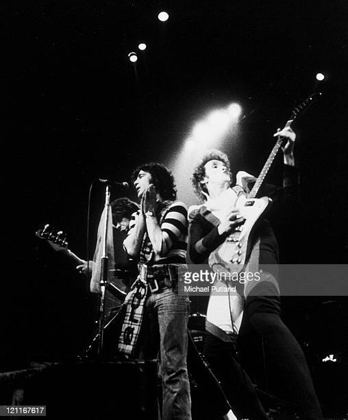 Alex Harvey and Zal Cleminson perform on stage with The Sensational Alex Harvey Band London 1975