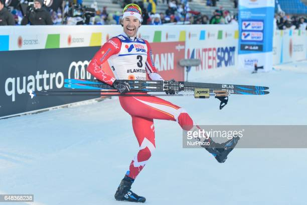 Alex Harvey from Canada celebrates after he wins Men crosscountry 50 km Mass Start Free final at FIS Nordic World Ski Championship 2017 in Lahti On...