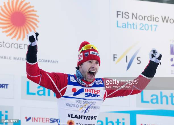 Alex Harvey of Canada celebrates during the men´s mass start race during the FIS Nordic World Ski Championships on March 5 2017 in Lahti Finland