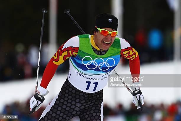 Alex Harvey of Canada competes during the CrossCountry Skiing Men's 15 km Free on day 4 of the 2010 Winter Olympics at Whistler Olympic Park...