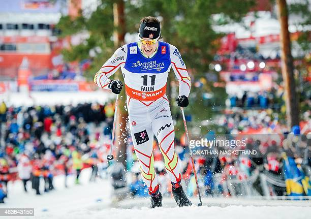 Alex Harvey of Canada competes during the Men 14 km Sprint Classic qualification race of the FIS Nordic World Ski Championships in Falun Sweden on...
