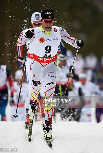 Alex Harvey of Canada competes during the Men's 30km CrossCountry Skiathlon during the FIS Nordic World Ski Championships at the Lugnet venue on...