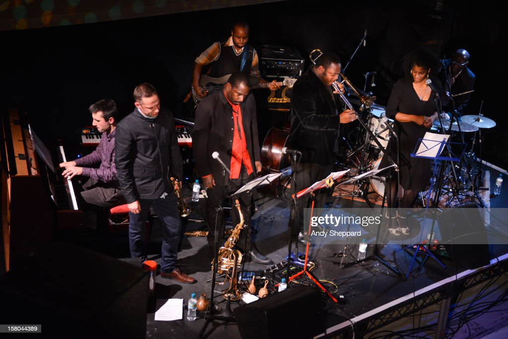 Alex Hawkins, Sean Corby, Jason Yarde, Neil Charles, Harry Brown, Valerie Etienne and Rod Youngs perform for the Jazz in the Round 2012 Christmas Special at The Cockpit Theatre on December 9, 2012 in London, England.