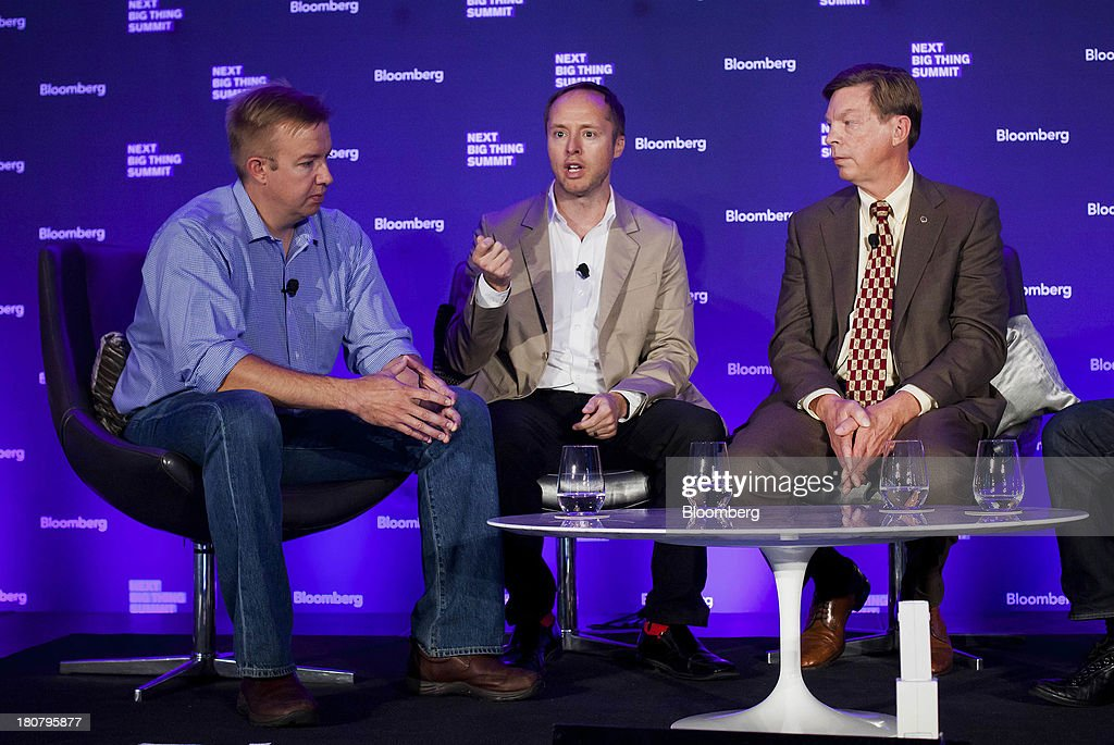 Alex Hawkinson, chief executive officer of SmartThings, from left, Jason Johnson, chairman of Internet of Things Consortium and founder and chief executive officer of August, and Bob Stewart, founder and chief executive officer of Yardarm Technologies, participate a panel discussion at the Bloomberg Next Big Thing Summit in New York, U.S., on Monday, Sept. 16, 2013. The conference convenes the most influential investors and industry leaders in innovation and science to explore the great frontiers of how technology is changing the way we live, work, and interact. Photographer: Michael Nagle/Bloomberg via Getty Images