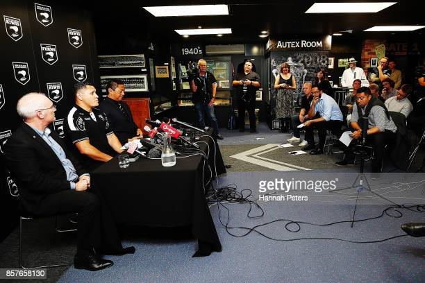 Alex Hayton head coach David Kidwell and selector Tawera Nikau speak to the media during the New Zealand Kiwis Rugby League World Cup Squad...