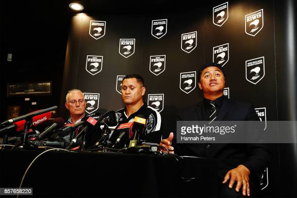 NZRL CEO Alex Hayton head coach David Kidwell and selector Tawera Nikau speak to the media during the New Zealand Kiwis Rugby League World Cup Squad...