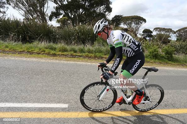 Alex Heaney of Cambridge on the climb heading to Gore during stage five of the Tour of Southland on November 6 2015 in Invercargill New Zealand
