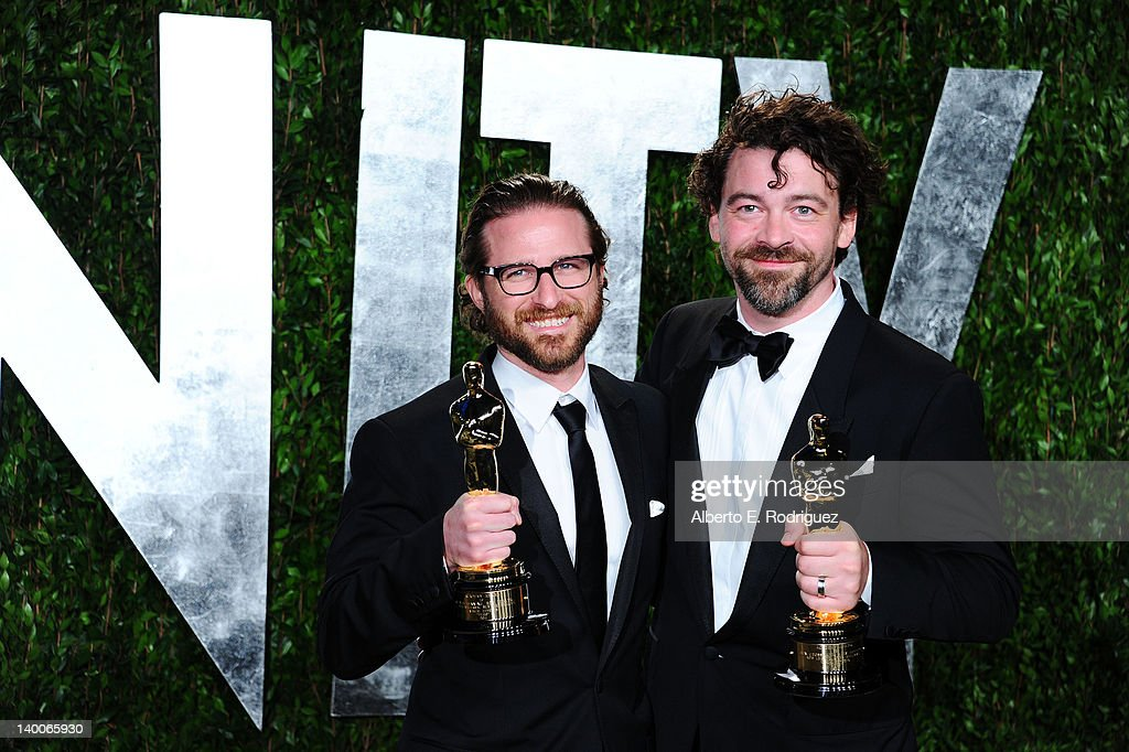 Alex Henning and Ben Grossman, winners of the Visual Effects Award for 'Hugo,' arrives at the 2012 Vanity Fair Oscar Party hosted by Graydon Carter at Sunset Tower on February 26, 2012 in West Hollywood, California.