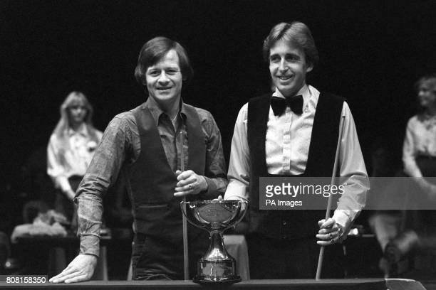 Alex Higgins left and Terry Griffiths with the Benson and Hedges Masters trophy as they were about to begin the 17 frames final