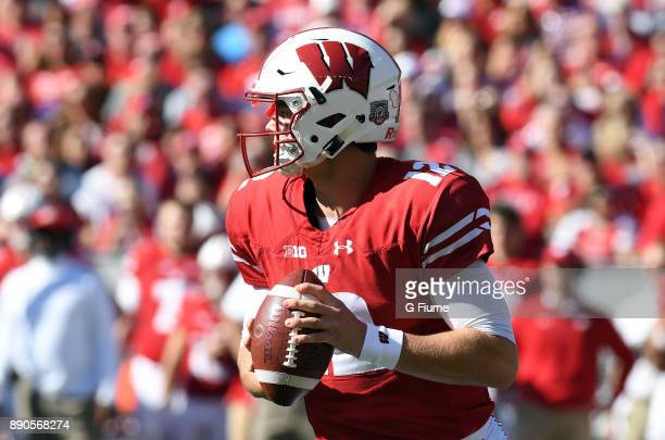 Alex Hornibrook of the Wisconsin Badgers drops back to pass against the Maryland Terrapins at Camp Randall Stadium on October 21 2017 in Madison...