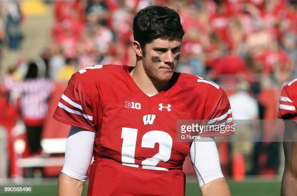 Alex Hornibrook of the Wisconsin Badgers rests during a break in the game against the Maryland Terrapins at Camp Randall Stadium on October 21 2017...