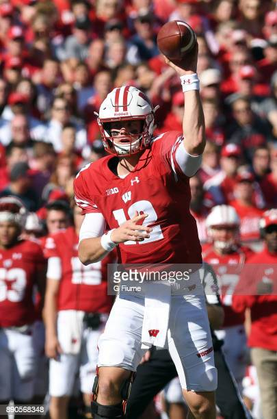 Alex Hornibrook of the Wisconsin Badgers throws a pass against the Maryland Terrapins at Camp Randall Stadium on October 21 2017 in Madison Wisconsin