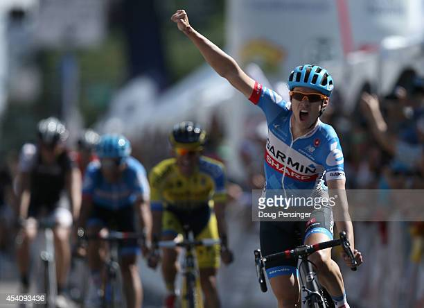 Alex Howes of the United States riding for Garmin Sharp celebrates as he wins stage seven of the 2014 USA Pro Cycling Challenge from Boulder to...