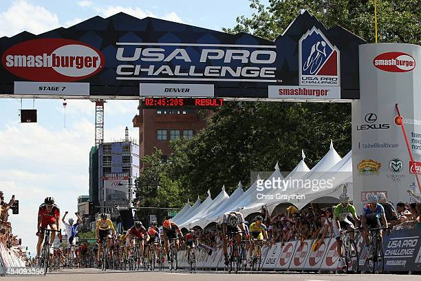 Alex Howes of the United States riding for Garmin Sharp wins the final stage of the 2014 USA Pro Challenge from Boulder to Denver on August 24 2014...