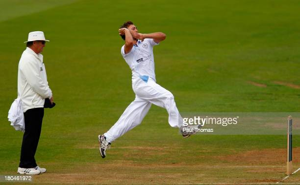 Alex Hughes of Derbyshire bowls during the LV County Championship match between Derbyshire and Durham at The County Ground on September 13 2013 in...