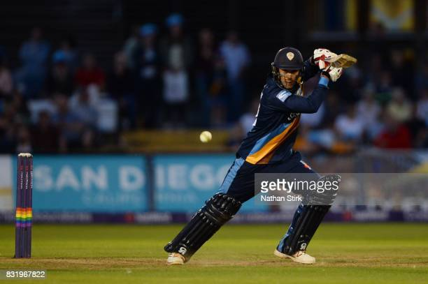 Alex Hughes of Derbyshire Falcons in batting during the NatWest T20 Blast match between Derbyshire Falcons and Durham Jets at The 3aaa County Ground...