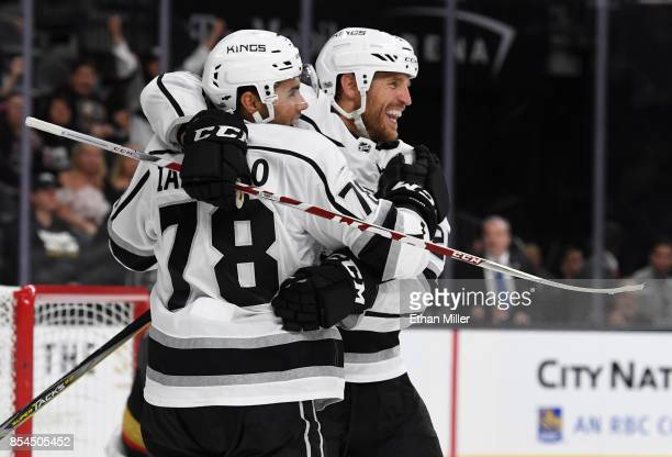 Alex Iafallo of the Los Angeles Kings hugs temmate Brooks Laich after he scored a gamewinning goal in overtime against the Vegas Golden Knights...