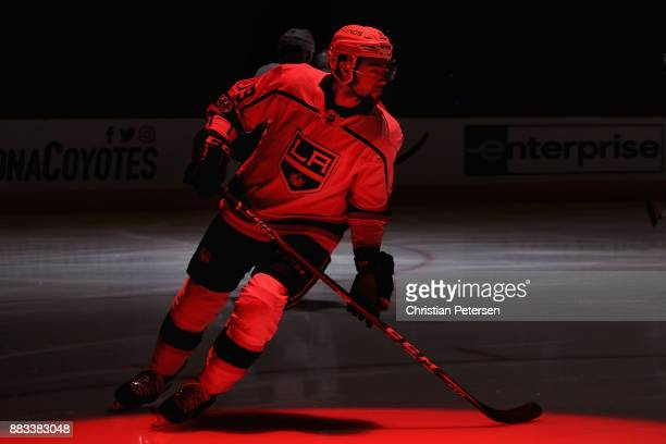 Alex Iafallo of the Los Angeles Kings skates on the ice before the NHL game against the Arizona Coyotes at Gila River Arena on November 24 2017 in...