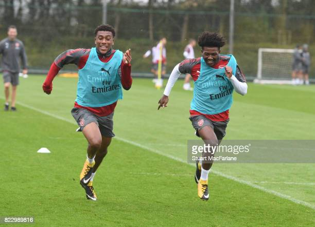 Alex Iwobi and Ainsley MaitlandNiles of Arsenal during a training session at London Colney on July 26 2017 in St Albans England