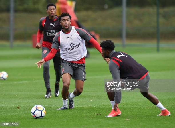 Alex Iwobi and Ainsley MaitlandNiles of Arsenal during a training session at London Colney on October 13 2017 in St Albans England