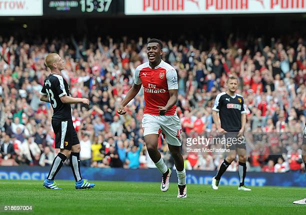 Alex Iwobi celebrates scoring the 2nd Arsenal goal with during the Barclays Premier League match between Arsenal and Watford at Emirates Stadium on...