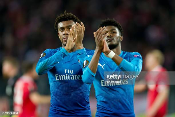 Alex Iwobi of Arsenal and Ainsley MaitlandNiles of Arsenal look on during the UEFA Europa League Group H soccer match between 1FC Cologne and Arsenal...
