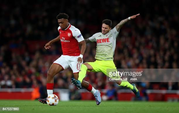 Alex Iwobi of Arsenal and Leonardo Bittencourt of FC Koln during the UEFA Europa League group H match between Arsenal FC and 1 FC Koeln at Emirates...