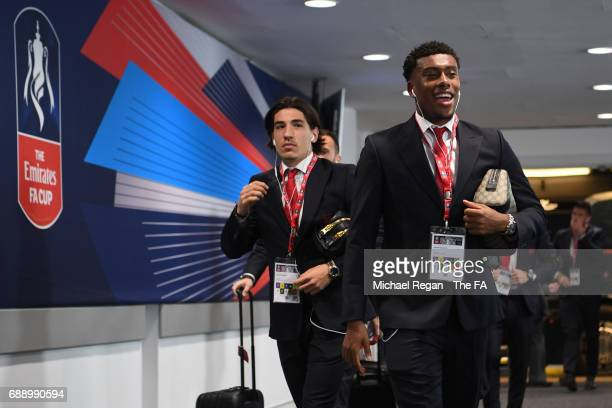 Alex Iwobi of Arsenal arrives at the stadium prior to the Emirates FA Cup Final between Arsenal and Chelsea at Wembley Stadium on May 27 2017 in...