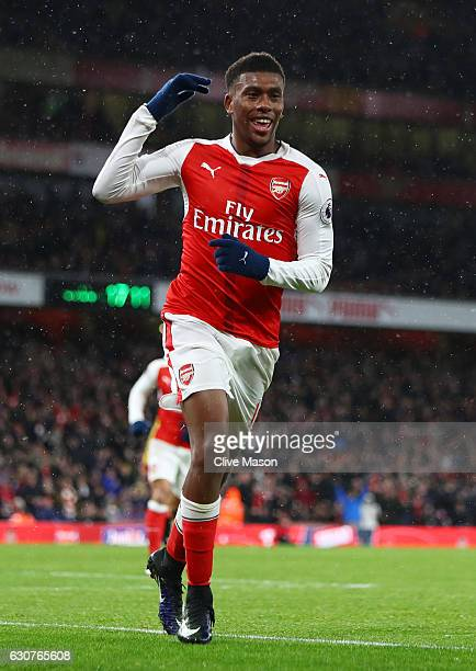 Alex Iwobi of Arsenal celebrates after scoring his team's second goal during the Premier League match between Arsenal and Crystal Palace at the...
