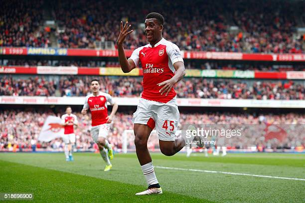 Alex Iwobi of Arsenal celebrates scoring his team's second goal during the Barclays Premier League match between Arsenal and Watford at Emirates...