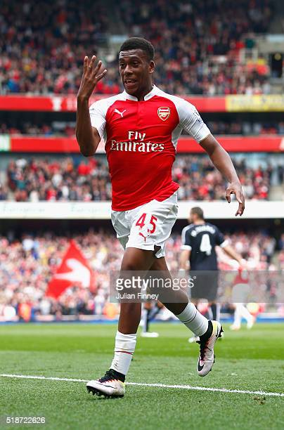 Alex Iwobi of Arsenal celebrates scoring the second goal during the Barclays Premier League match between Arsenal and Watford at the Emirates Stadium...