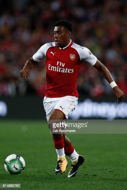 Alex Iwobi of Arsenal controls the ball during the match between the Western Sydney Wanderers and Arsenal FC at ANZ Stadium on July 15 2017 in Sydney...