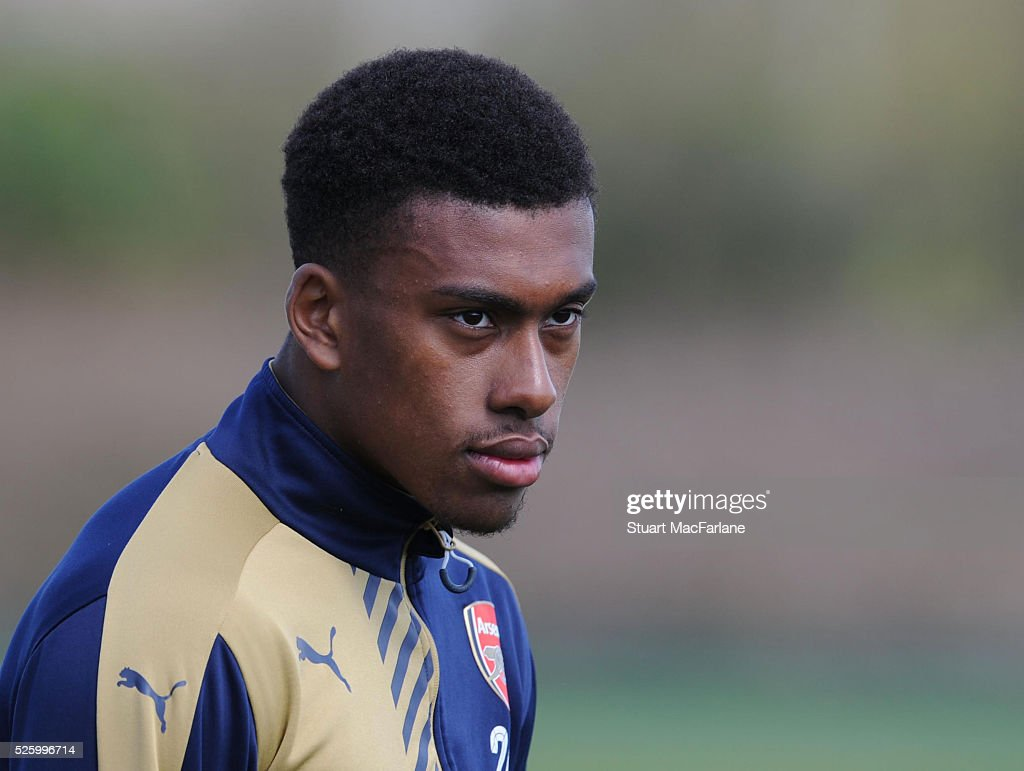 <a gi-track='captionPersonalityLinkClicked' href=/galleries/search?phrase=Alex+Iwobi&family=editorial&specificpeople=8574626 ng-click='$event.stopPropagation()'>Alex Iwobi</a> of Arsenal during a training session at London Colney on April 29, 2016 in St Albans, England.