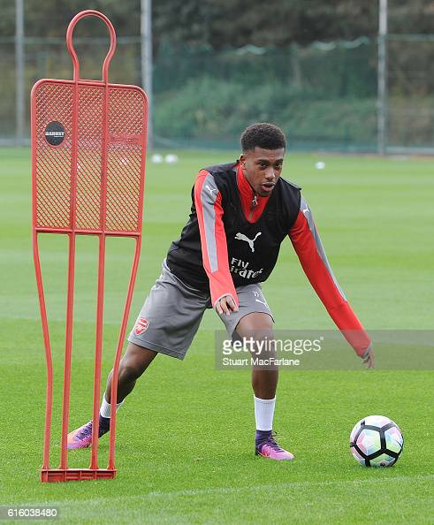 Alex Iwobi of Arsenal during a training session at London Colney on October 21 2016 in St Albans England