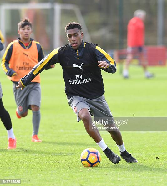 Alex Iwobi of Arsenal during a training session at London Colney on March 1 2017 in St Albans England