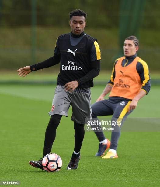 Alex Iwobi of Arsenal during a training session at London Colney on April 22 2017 in St Albans England
