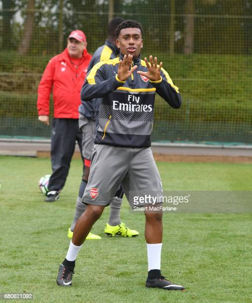 Alex Iwobi of Arsenal during a training session at London Colney on May 9 2017 in St Albans England