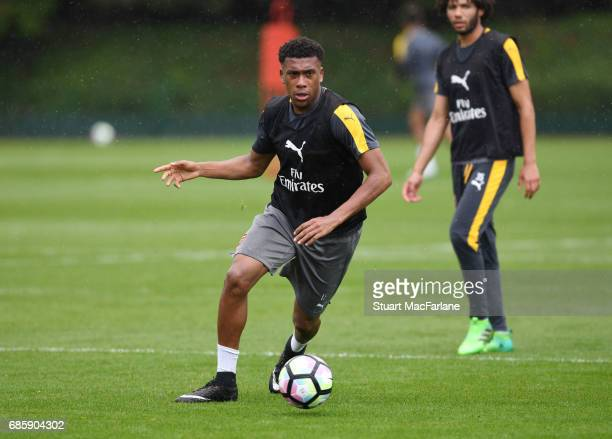 Alex Iwobi of Arsenal during a training session at London Colney on May 20 2017 in St Albans England