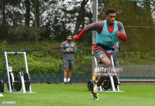 Alex Iwobi of Arsenal during a training session at London Colney on July 26 2017 in St Albans England