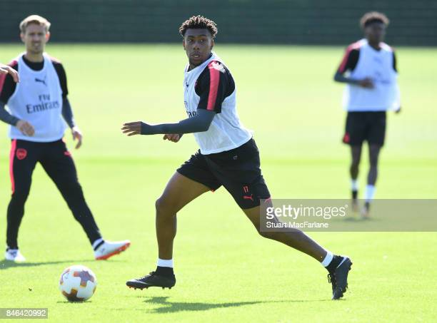 Alex Iwobi of Arsenal during a training session at London Colney on September 13 2017 in St Albans England