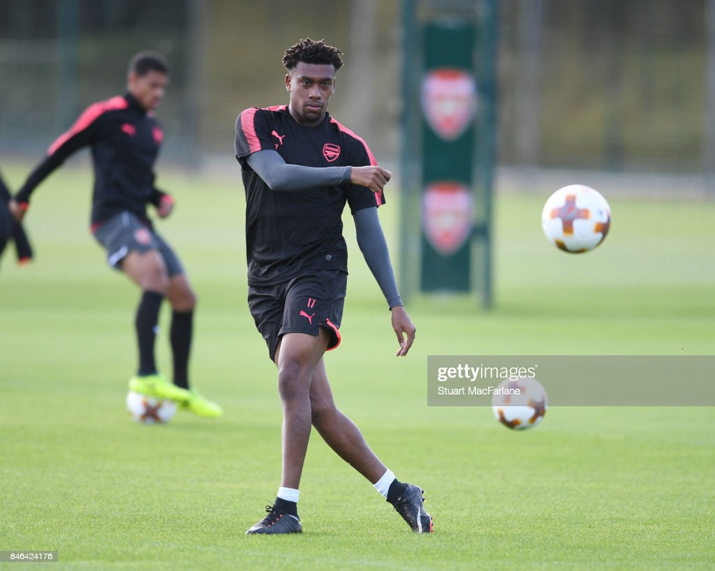 Alex Iwobi of Arsenal during a training session at London Colney on September 13, 2017 in St Albans, England.