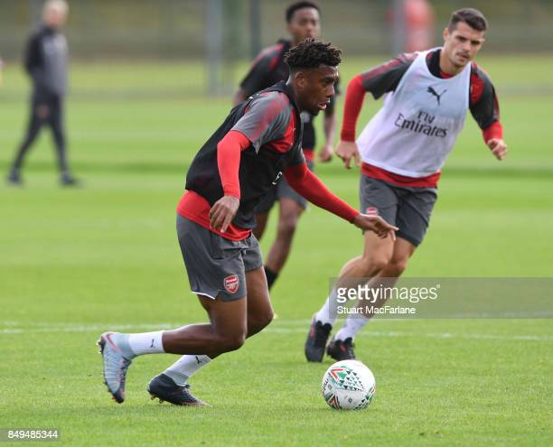 Alex Iwobi of Arsenal during a training session at London Colney on September 19 2017 in St Albans England