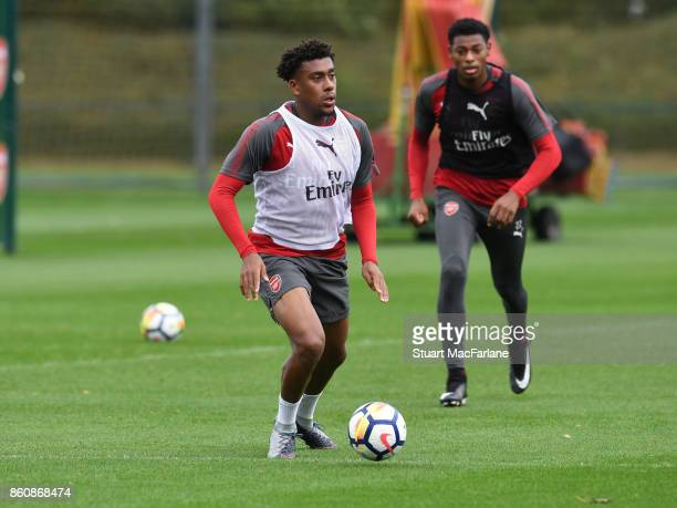 Alex Iwobi of Arsenal during a training session at London Colney on October 13 2017 in St Albans England