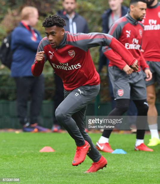 Alex Iwobi of Arsenal during a training session at London Colney on November 4 2017 in St Albans England
